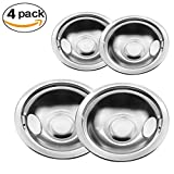 4-pack Gas Stove Burner Covers Chrome Reflector Bowls Stove Drip Pans for Frigidaire Kenmore 5304430149, 5304430150