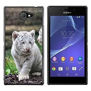 Be Good Phone Accessory // Dura Cáscara cubierta Protectora Caso Carcasa Funda de Protección para Sony Xperia M2 // White Tiger Cub Puppy Cute