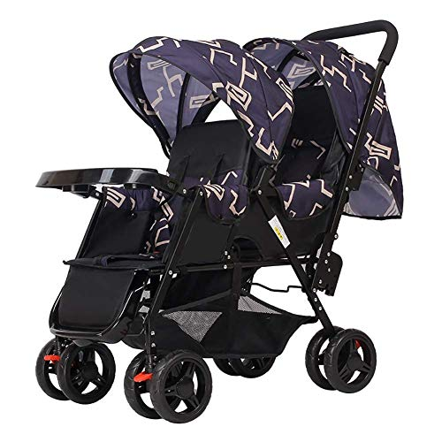 LQRYJDZ Double Stroller,Sitting Back and Forth Tandem Stroller, with Adjustable Backrest, Footrest, 5 Points Safety Belts, Foldable Design for Easy Transportation (Color : G)