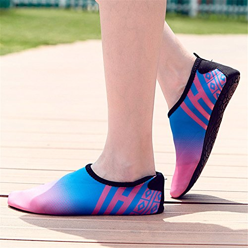 SANBANG Herren Damen Wasser Schuhe Quick-Dry Barfuß Schuhe für Schwimmen Beach Pool Surf Yog Welle Blau Rot