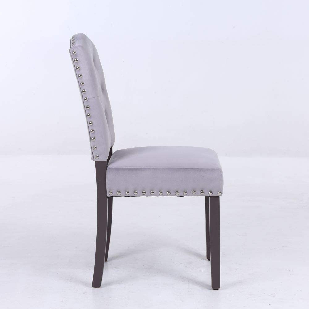 PS Global Esszimmerstühle, mit Knopflücke, Chromnieten, Vevlet, 2 Stück hellgrau