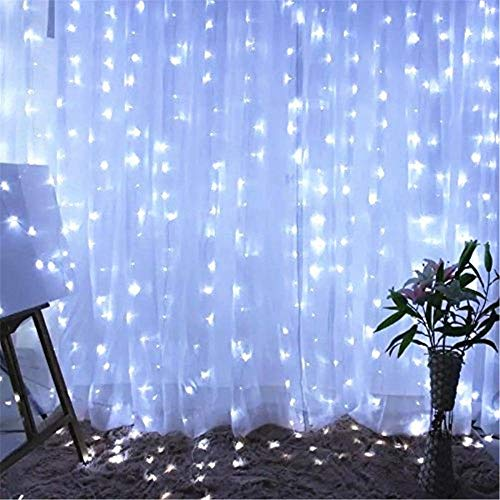 Twinkle Star 600 LED Window Curtain String Light Christmas Wedding Party Garden Bedroom Indoor Outdoor Wall Decoration, White ()