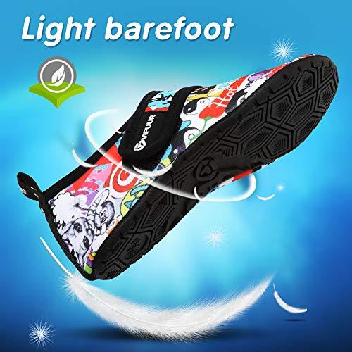 VIFUUR Girls Boys Athletic Water Shoes Kids Barefoot Aqua Socks for Beach Swimming