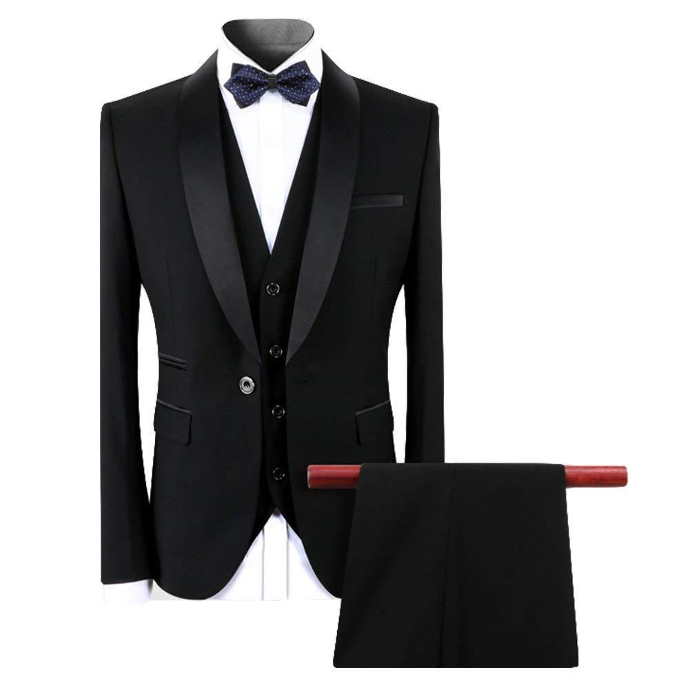 Abito da Uomo 3 Pezzi Abito da Smoking Smoking da Cerimonia One Button Nero da Lavoro Formale Slim Fit Giacca Gilet Pantaloni