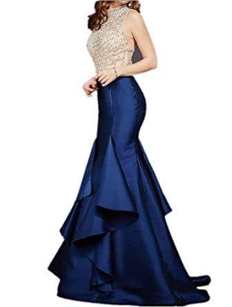 Tsbridal Beaded Mermaid Prom Dresses Royal Blue Formal Evening Party Dress - Multi -