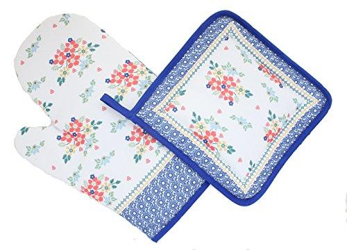 Manufaktura Blue Rose Polish Pottery Red Daisy Pot Holder & Oven Mitt Set ()