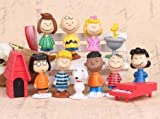 TOP Satisfied Peanuts Charlie Brown Snoopy 12x Figures Cake Topper Toy TV Movie Set Miniature Statues Lovely gift