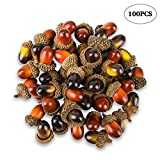 100 Pcs Artificial Acorns with Natural Acorn Cap, Realistic and Natural Looking, 2 Color Small Fake Acorns for Crafting, Wedding, House Decor