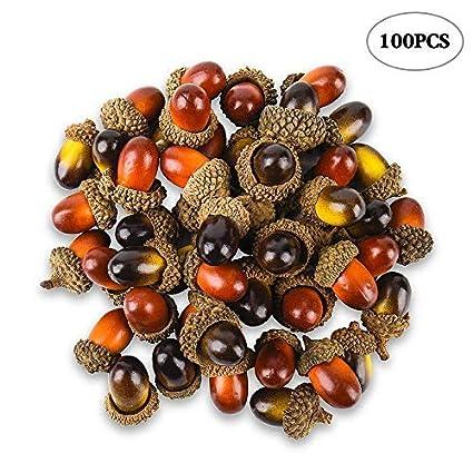 amazon com 100 pcs artificial acorns with natural acorn cap