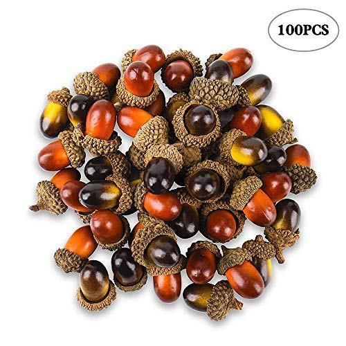 100 Pcs Artificial Acorns with Natural Acorn Cap, Realistic and Natural Looking, 2 Color Small Fake Acorns for Crafting, Wedding, House Decor Aipaide