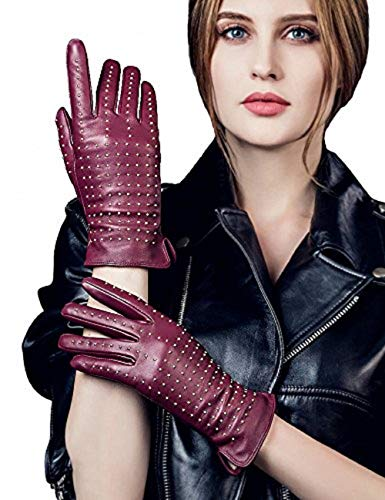 YISEVEN Women's Touchscreen Lambskin Leather Gloves Cashmere Lined Quilted Rivet Luxury Elegant and Hand Warm Fur Heated Lining for Ladies Winter Accessories Dress Work Driving Xmas Gifts, Wine Red S