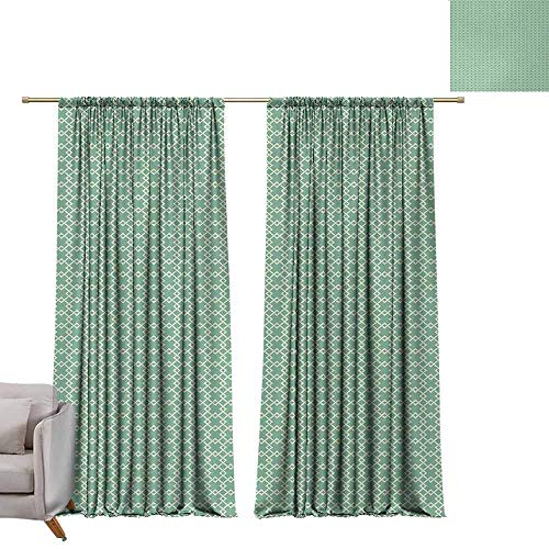 DUCKIL Sliding Curtains Abstract Retro Geometric Lines Classic Connected Rhombus Mosaic Tiles Illustration Soft Texture W96 xL108 Almond Green Cream ()