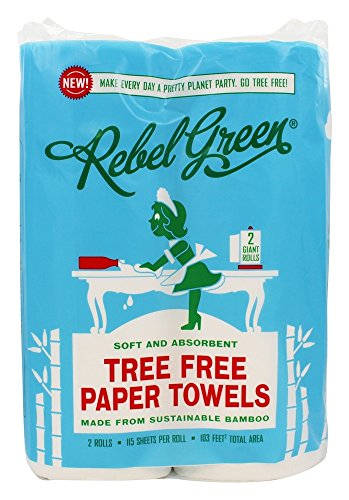 Rebel Green Tree Free Bamboo Paper Towels, 2 Giant Rolls, 1.5 Pound