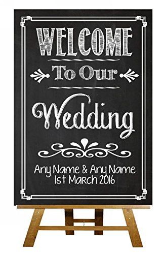 Chalkboard Style Welcome To Our Wedding Vintage Chalk Sketch Collection Personalised Printed Card Sign