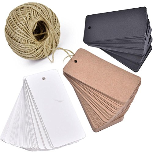 Wine Bottle Gift Tags (Lwestine 300pcs Kraft Paper Gift Tags, Blank Card with 100 Feet Natural Jute Twine for Crafts & Price Tags Lables (Brown, White, Black))