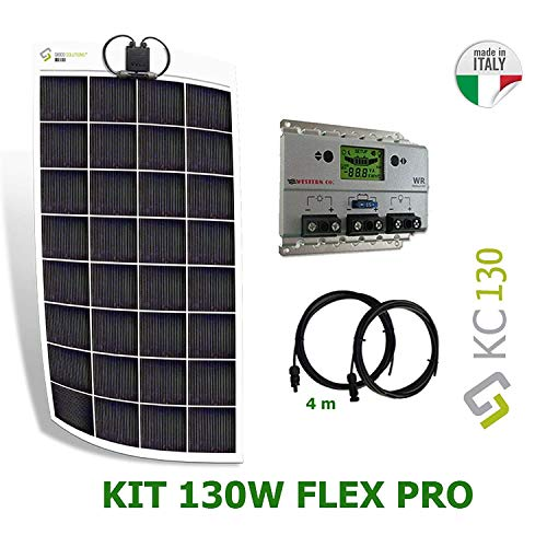 Kit Solarpanel flexibel 130 W 12 V mit Laderegler MPPT 20 A 12 V/24 V LCD