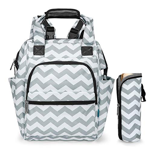 - Srotek Diaper Bag Backpack Large Baby Bag Water-Resistant Baby Nappy Bag with Insulated Water Bottle Bag/Changing Pad for Women/Girls/Mum/Boys/Dad (Gray Wave Pattern)