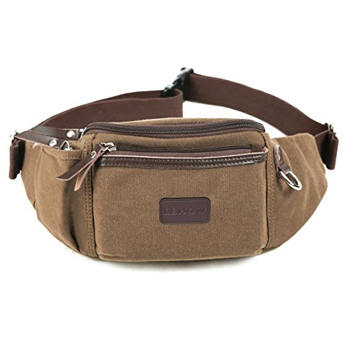Price comparison product image Eshow Men's Fanny Pack Canvas Waist Pack Waist Bag for Men Belt Bag Outdoors for Morning Jogging Running