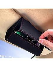 KEKIMO Car Sunglass Holder, Car Visor Sunglasses Case with Hidden Magnetic Closure Universal Automotive Eyeglasses Organizer Protective Box Car Accessories for Car, SUV, RV or Truck (Black)