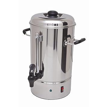 Redondo filtro cafetera eléctrica 10 L, filtro de acero inoxidable Cafetera de doble pared con 2 Sistemas de calefacción, indicador de llenado y rosftreiem ...