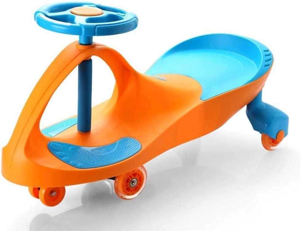 Linashop Triciclo niños del niño de 4 Ruedas Paseo en la Bicicleta-Walker Bicicleta de Equilibrio del Triciclo del bebé Infantil Caminar Juguetes del bebé Paseo del Coche 1 A 3 Años, (Color : Orange)