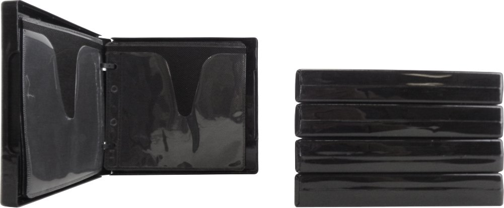 (5) Black 12-Disc Capacity CD DVD 2-Ring Album Wallet Book Storage CDBR2412BK (UniKeep Style)