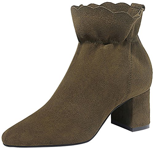 90s Inspired Costumes (T&Mates Womens Elegant Slip-on Solid Faux Suede Chunky Heel Ankle High Short Booties (8.5 B(M)US,Green))