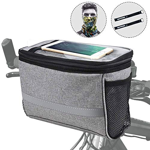 Bike Handlebar Bag, Bike Basket with | 2 Mesh Pockets – Cold & Warm Insulation – Reflective Stripe – Touchable Transparent Phone Pouch | Bicycle Front Bag, Bike Pouch for Cycling, Women, Cruisers