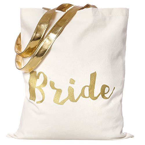Ling's moment Gold Bride Tote Bag Bride Travel Handbags Wallets - Gold Leather Handles, Interior Pocket Cotton Canvas Gift Bag for Bride Bride To Be Bridal Shower Wedding Planning Bag