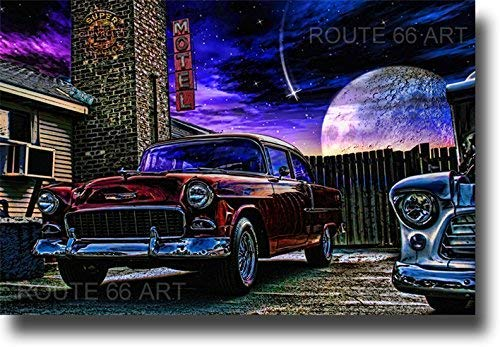 ROUTE 66 CLASSIC CHEVY BEL AIR HOT ROD CLASSIC CAR PRINT