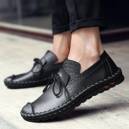 O&N Mens Casual Leather Slip On Moccasins Loafers Flat Driving Boot Shoes Black SrpuQOjn