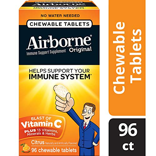 Vitamin C 1000mg - Airborne Chewable Tablets 96 Count - Herbal Immune Support Supplement, Antioxidants (Vitamin A, C & E), Citrus Flavor