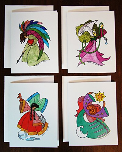 4 Angel Greeting Cards SET A (4.25