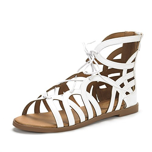 DREAM PAIRS Women's Cesar White Open Toe Gladiator Flat Sandals Size 7.5 M US -