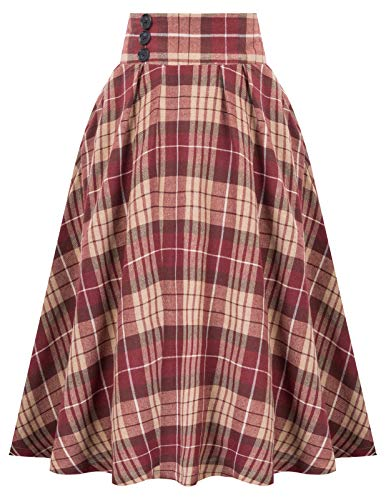Belle Poque Women Red Plaid Flare Skirt High Waist Pleated Midi Skirt with Pocket,Small