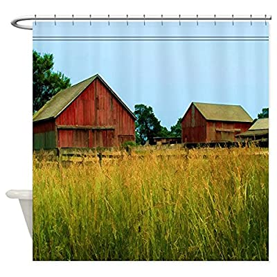 CafePress - Farm Field With Red Barns - Decorative Fabric Shower Curtain