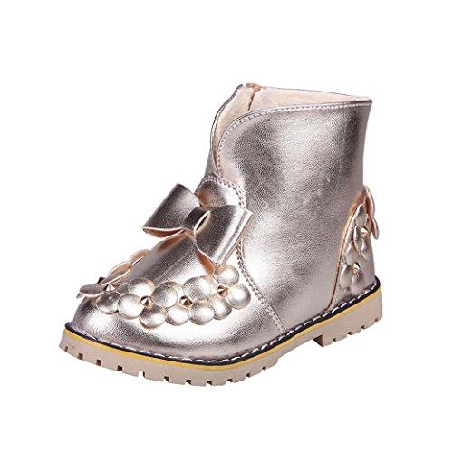 HUHU833 Kinder Mode Jungen Mädchen Stiefel Bowknot Blumen Martin Stiefel Winter Warm Boots Kinder Schuhe Casual Snow Boots Schuhe Gold