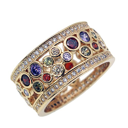Wedding Band Ring Yellow Gold Gemstone Amethyst Garnet Morganite 7 8 9 (9) (Amethyst Kunzite Ring)