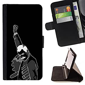 DEVIL CASE - FOR HTC One M7 - Fist Revolution Man Black White Poster Art - Style PU Leather Case Wallet Flip Stand Flap Closure Cover