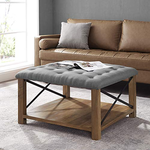 WE Furniture Farmhouse Tufted Cocktail Ottoman with Shelf Storage, 30