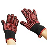 ekSel COOL Cooking Baking BBQ Oven Grill Gloves Pan Holders Heat Resistant Kevlar Black with Red Silicone Flexible 2 Pack (1 Pair)