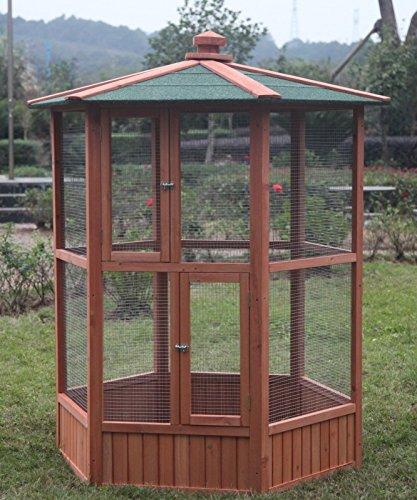 Hexagonal Aviary (Omitree 6 ft New Wooden Aviary Hexagonal Flight House Cage Ideal for Birds Chipmunks Cat)