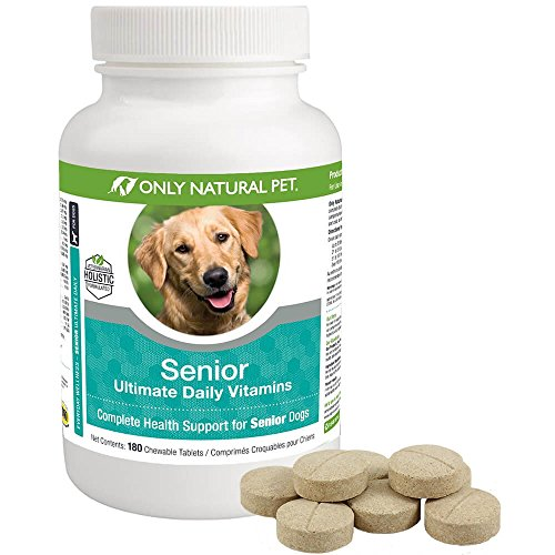 Only Natural Pet Senior Ultimate Daily Canine Vitamin Supplement for Dogs Complete Holistic Health Support - Made in USA, 180 Turkey Flavored Chewable Tablets