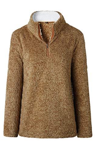 Angashion Womens Sweatshirt - Long Sleeve 1/4 Zip Up Faux Fleece Pullover Hoodies Coat Tops Outwear with Pocket 174 Brown XL