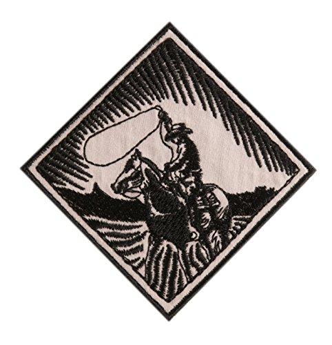 Embroidered Retro Vintage Black & White Western Cowboy Horse & Lasso Patch Applique Iron On (Cowboy Patches)