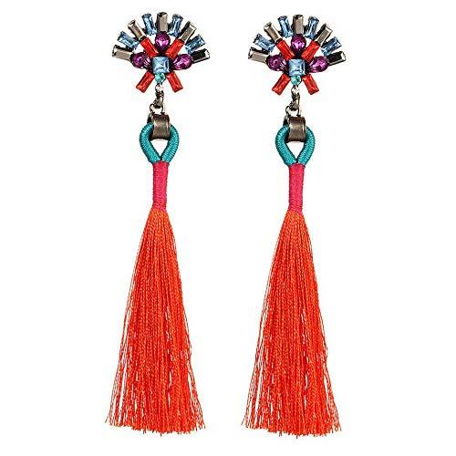 Wausa Charm Bride Earring Boho Rhinestone Color Tassel Drop Long Ear Stud Earrings New | Model ERRNGS - 6727 |