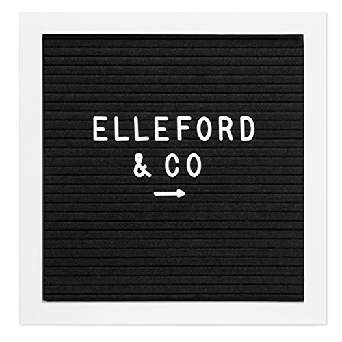 Black Felt Letter Board 10x10 White Frame. White and Gold Changeable Letters, Numbers, Emojis. (Black/White, 10x10) by Elleford & Co