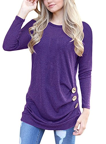 - Women's Casual Long Sleeve Crew Neck Loose Tunic T Shirt Sweater Purple S