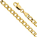 14k Yellow Gold Men's 6.5mm Hollow Cuban Curb Chain Bracelet with Lobster Claw Clasp - 8''