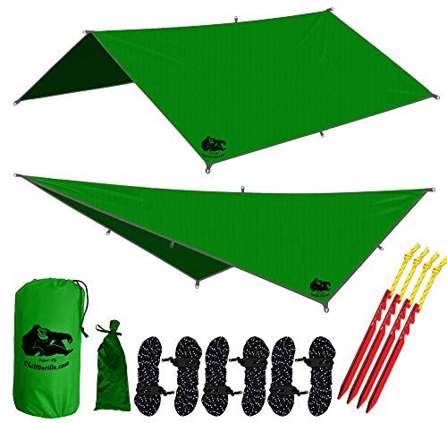Chill Gorilla 10x10 Hammock Waterproof Rain Fly Tent Tarp 170 Centerline. Ripstop Nylon & Not Cheap Polyester Cover. Stakes Included. Survival Gear Backpacking Camping Camp Accessories. Green